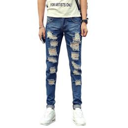 Wholesale Male Jeans Korean New - Wholesale-New Summer Men Denim Jeans Men Ripped Hole Blue Skinny Jeans Male Slim Fit Korean Style Hip Hop Boys Trendy Pencil jeans homme