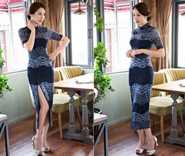 Wholesale Long Sleeve Chinese Dresses Cheongsam - Vintage Chinese Traditional Lace Cheongsam Dress 1 2 Hollow Sleeve Long Qipao Daily Casual Evening Party Dress