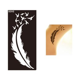 Wholesale Temporary Tattoo Stencil Sheets - Wholesale- 1 Sheet Lady Style Feather Bird Waterproof Tatoo Henna Stencil Temporary Sexy Women Body Leg Hand Art Tattoo Sticker Design S202