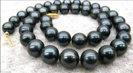 "Wholesale Black Culture Tahitian Pearl - 9-10mm Black AAA+ Tahitian Cultured Pearl Necklace 18"""