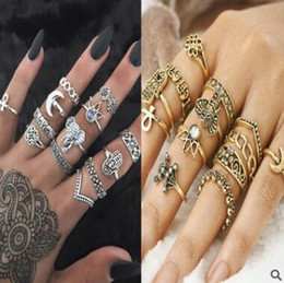 Wholesale Vintage Knuckle Rings - Knuckle Ring Set 13pcs set Elephant Crystal Midi Finger Knuckle Rings Retro Vintage Bohemian Stacking Silver Ring Set Women Punk Jewelry