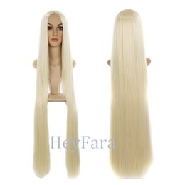 Wholesale Synthetic Wigs 613 - 1m Long Length 613#Blonde Color Straight Middle Parting Halloween Cosplay Party Custome Wig Natural Looking Synthetic Wig Heat Resistant