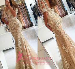 Wholesale Nude Embellished Gown - Elegant Champagne Prom Evening Dresses with Half Sleeves 2016 Mermaid Sheer Illusion Heavly Embellished Backless Formal Party Gowns Arabic