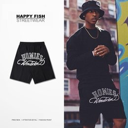 Wholesale Mens Fishing Shorts - Wholesale-HEY FISH New Arrive Summer Mens Shorts Letter Printed Hip Hop Funny Shorts Cotton Short M-3XL