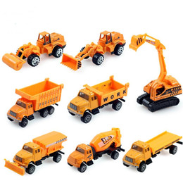 Wholesale Crane Plastics - 24 PCS Set 1:64 Alloy Engineering Car Model Toy Crane Transporter Concrete Dump truck Digging Car Hot Toy Excavator Wholesale