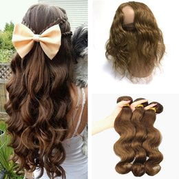 pelo castaño castaño Rebajas Indian Body Wave Virgin Hair Color # 4 El cabello humano medio marrón teje 3 paquetes con 360 Lace Frontal closure Castaño Brown Hair Extensions