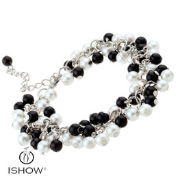Wholesale Tennis Wristbands Wholesale - White & Black glass pearl bracelets New & Fashion Middle eastern popular Unisex Acrylic Material Tennis Wristband HYB1427