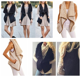 Wholesale Imitation Fur Coats - Womens Vest Winter Warm irregularity Imitation Faux Fur Sherpa Jacket Outwear Casual Coat warm Sherpa vest KKA3605