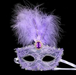 Wholesale venetian mask masquerade costume purple - Sexy Half Face Mask Women Lady Feather Mask Lace Fringed Pearl Party Venetian Costume Ball Bar Masquerade Gifts Halloween Mask G811
