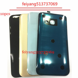 Wholesale Best Back Covers - 10pcs OEM best Back Battery Cover Rear Door Housing Case Glass With Adhesive Sticker For Samsung Galaxy A3 A5 A7 2017 A320 A520 A720