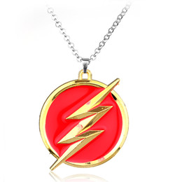 Wholesale Christmas Flash Movie - New Style Necklace Fashion The Flash Necklace Pendant Alloy Jewelry Wholesale European And American Movies Around Chains For MenCSH-28