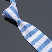 Wholesale Unique Stripe - Unique Knitted Narrow Ties Neck Tie Men's Blue White Striped Necktie(as pic show ) width:5cm