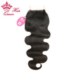 """Wholesale Lace Closures Queen - Queen Hair 100% Virgin Human Brazilian Hair Lace Closure (3.5""""x4"""") Body Wave 8""""-20"""" #1B (Natural Color) DHL Free Shipping"""