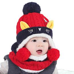 Wholesale Child Girl Suit Design - Retail Baby Girls Beanies Bobbles Hat Set Cat Design Wave Child Kids Knit Caps and Scarf Warm 2 Pieces Suit Set MZ4218