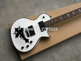 Wholesale Eclipse Custom Shop - Superior quality E Custom Shop Eclipse II White Electric Guitar,Fingerboard with Cross Inlay,Black Locking Tuner, Real photo shows