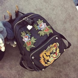 Wholesale United Backpacks - wholes handbag new Europe and the United States fan tiger embroidery embroidery Oxford backpack travel steller backpack backpack individuali