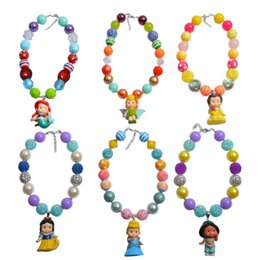 Wholesale Chunky Princess Necklace - Princess Pendants Bubblegum Necklaces Cute Chunky Necklace Handmade Toddlers Jewelry Snow White Belle Mermaid Tinkerbelle Pendants Jasmine