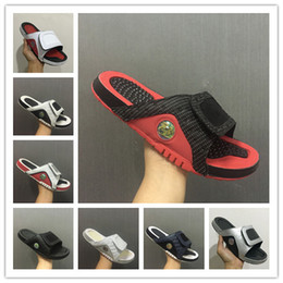 Wholesale Sandals Men Pu - Wholesale new 13 slippers 13s Blue black white red sandals Hydro Slides basketball shoes casual running sneakers size 7-13