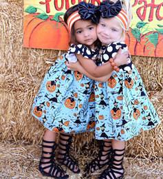 Wholesale Pumpkin Tutu - 2017 New Children Halloween Dress Baby Girls Fly Sleeve Halloween Pumpkin Print Princess Party Dress Free Shipping
