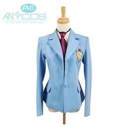 Wholesale Uniform Coat Blazer - Ouran High School Host Club Boy School Uniform Blazer Blue Jacket Coat Tie Anime Halloween Cosplay Costume