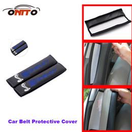 Wholesale Mustang Auto Accessories - Hot Auto blets 2pcs Car Seat Safety Belt Cover Belts Padding Cover For shelby logo for Shelby Mustang DXY Car Emblem