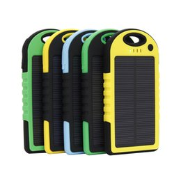 Wholesale Battery For Cellphones - 5000mAh Solar power Charger and Battery Solar Panel waterproof shockproof Dustproof portable power bank for Mobile Cellphone Laptop Camera