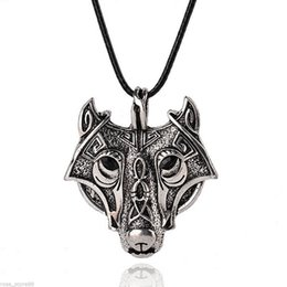 Wholesale Men Jewelry Leather Necklace - New Charm Men Stainless Steel Wolf Head Pendant Leather Chain Necklace Jewelry