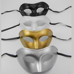 Wholesale prince pvc - Party Masks Flat Masquerade Prince Mask Makeup Ball Concise Vizardmask Solid Color Gold Silver Black White Domino 1 2ts