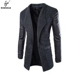 Wholesale Trench Coats Leather Sleeves - Wholesale- WEONEDREAM New Jacket Wool Leather Spliced Slim Fashion Mens Long Trench Coat Europe Trenchcoat Jacket Male Coat Trench M-2XL