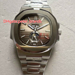 Wholesale Moon Sapphire - luxury high quality automatic men watch brown dial stainless steel Transparent glass back nautilus day date watches