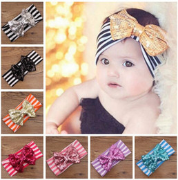 Wholesale Sequin Hairbands - 11 styles INS Lovely Sequin bowknot headbands Striped cotton kids Hair accessories fashion lovely bow kids baby children hairband free ship