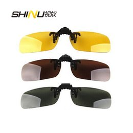 Wholesale Clips For Sunglasses - Clips On Sunglasses Lens Polarized Day Vision Flip Up Clip On Glasses Yellow Lens For Night Driving Eyeglass 5pcs lot