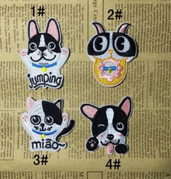 Wholesale Wholesale Embroidered Dog Patches - Cute animal iron on patches cat dog cartoo fabric Applique badge clothing accessori DIY applique biker vest embroidered wholesale