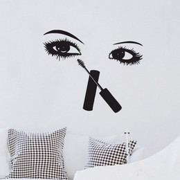 Wholesale wall lighting for bedrooms - Eyelashes Makeup Wall Stickers Beauty Salon Room Decor Creative Wall Decals Vinyl Sexy Eyes Wall Murals