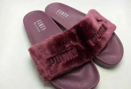 Wholesale Hot Plush - Hot Rihanna Leadcat Fenty Faux Fur Slide Sandal,Women Classical Fenty Slippers Black Slide Sandals Fenty Slides Red Yellow Purple Blue