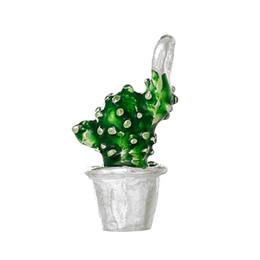 hellgrüner achat Rabatt Großhandels- DoreenBeads Charm Anhänger Kaktus Topfpflanze Silberfarbe Emaille Grün 19mm x11mm (6/8 x 3/8) -19mm x10mm (6/8 x 3/8), 5 Stück
