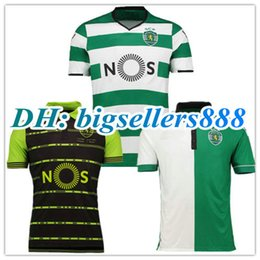Wholesale Soccer Sports Jerseys - TOP THAI QUALITY 17 18 Sporting Lisbon Home Soccer Jersey camisas de futebol 2017 Luis Figo Nani TEO Slimani William away football shirts