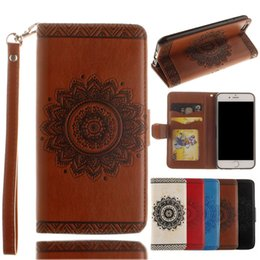 Wholesale Embossment Case Iphone - Embossment Mandala Flower PU Leather Wallet Cover with Credit Card ID Slot Holder Wrist Strap for Iphone 6 7 Samsung S6 S7 edge Huawei P9 P8