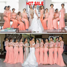 Wholesale Mint Color Long Sleeve Dresses - Stunning Mermaid Bridesmaid Dress Long Formal Wedding Guest Dress Peach Coral Mint Turquois Custom Sheer Lace Bateau Bridesmaids Gown Sleeve