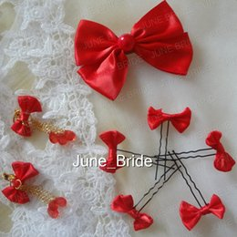 Wholesale Real Pearl Clip Earrings - Lovely Red Bow Clip Cute Small Bow Hair Pin with Earrings Factory Real Photo Cheap Price Chinese Cheongsam Wedding Party Dress Accessories