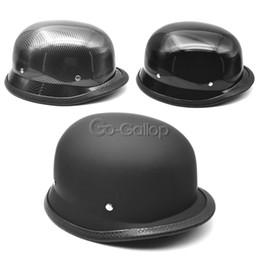 Wholesale Gloss Carbon Fiber - Wholesale- M L XL DOT Motorcycle Chopper Half Face German Helmet Carbon Fiber Gloss Black
