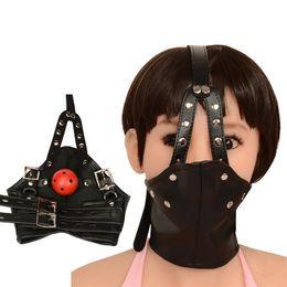 Wholesale Leather Sex Gags - Bdsm Mask Leather Bondage Restraints Body Hood Harness Mouth Gag Sexy Bondage Gear Slave Fetish Erotic Toys Sex Toys For Women