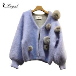 Wholesale Winter Furry Jacket - Wholesale- Furry Christmas Sweater Women 2016 Cardigans and Knitwear 3D Cute Fur Plush Balls Womens Fur Jacket Winter Cardigan Feminino