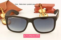 Wholesale Matte Black Frame Glasses - 2017 new fashion top quality men women designer sunglasses matte black square sunglasses grey gradient lens 54mm in case unisex