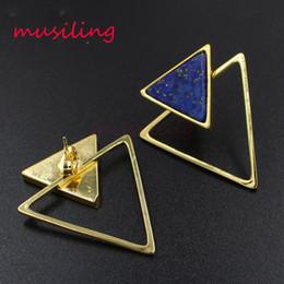 Wholesale Black Gem Stud Earring - Earring Stud Triangle Ear Stud Natural Gem Stone Jewelry Ear Clip Earrings Women's Jewelry Amethyst Opal Onyx Lapis Lazuli etc Stone