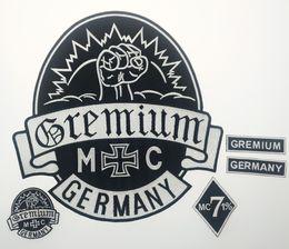 patchs biker rocker Promotion Grosses soldes! GREMIUM Allemagne Patchs Brodés Pleine Dos Taille Patch pour Veste Fer Sur Vêtements Biker Gilet Patch Rocker Patch Livraison Gratuite