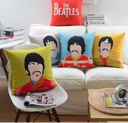 Wholesale Roll Black Velvet - The Beatles Cushion Cover British Rock And Roll John Lennon Portrait Art Cushion Covers Decorative Velvet Pillow Case For Sofa Couch Seat