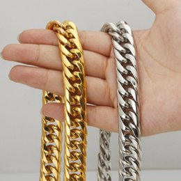 """Wholesale Curb Chain Necklace For Men - 24""""16mm Gold Silver For Choose Chain Heavy Curb Cuban Jewelry Men Boy's Stainless Steel Necklace Hot Chain"""