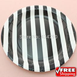 "Wholesale Party Serving Plates - Wholesale-60pcs 9"" Black Striped Halloween Paper Plates Round,Pretty Party Picnic Dessert Serving Dishes Tableware-Choose Your Colors"