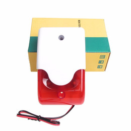 Wholesale Mini Siren Alarm - free shipping Mini Red Strobe Siren Indoor Outdoor Wired Sound 110dB Alarm Siren with Strobe flash light 12V DC